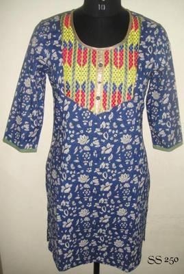 Blue coloured embroidered kurti