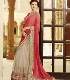 Buy orange 100% Original embroidered georgette saree With Blouse bridal-saree online