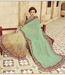 Buy beige embroidered georgette saree With Blouse bridal-saree online