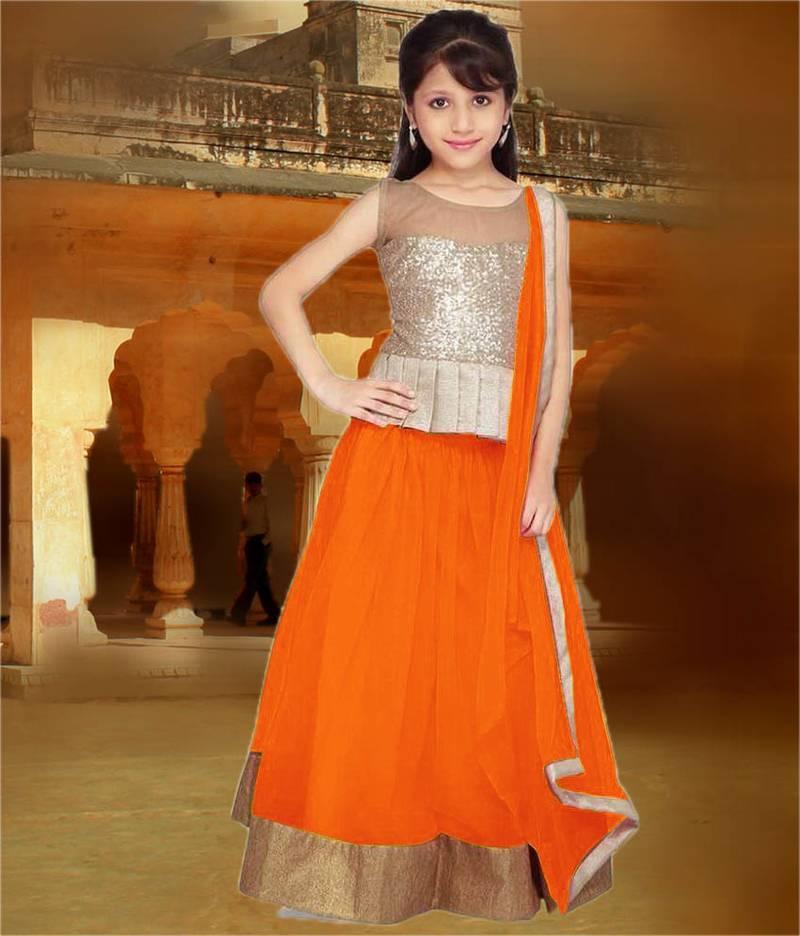 Buy Orange Plain Net Kids Lehenga Choli Online