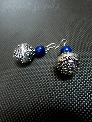 Ethnic Blue Onyx and Silver ball earrings