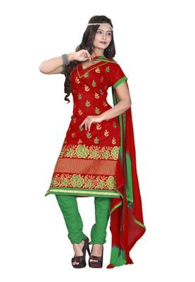 Fabdeal Red Colored Chanderi Silk Embroidered Unstitched Salwar Kameez