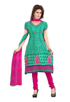 Fabdeal Aquamarine Colored Crepe Jacquard Embroidered Unstitched Salwar Kameez
