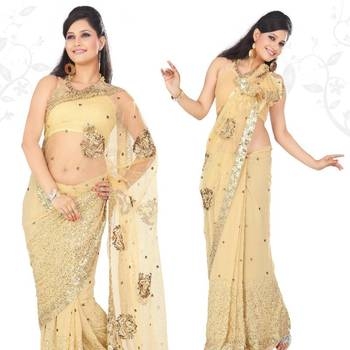 Beige faux georgette saree with blouse (sn408)