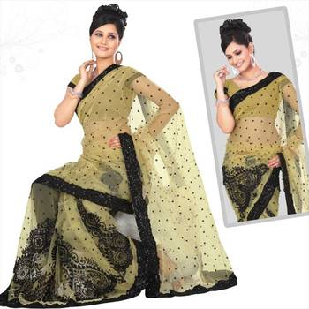 Beige net saree with blouse (sn419)