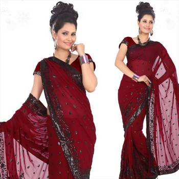 Maroon faux georgette saree with blouse (sn433)