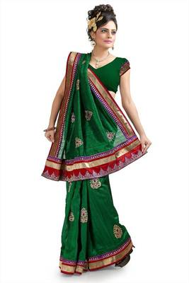 Dark green bhagalpuri silk saree with blouse (pnm1044)