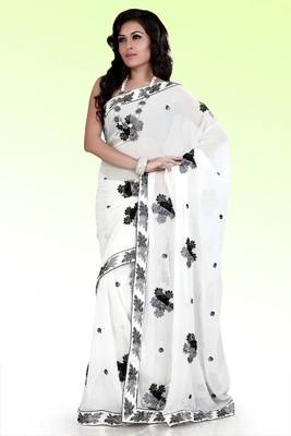 White faux georgette saree with unstitched blouse (ask533)