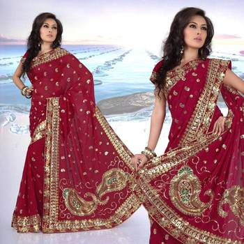 Maroon faux georgette saree with unstitched blouse (282)