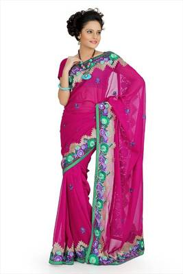 Deep pink faux georgette saree with blouse (aps707)