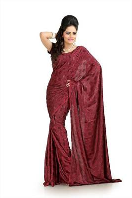 Maroon silk crepe jacquard saree with blouse (msk1063)