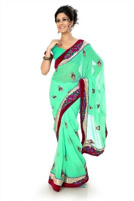 Turquoise chiffon saree with unstitched blouse (dpl1282)