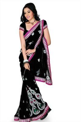 Black chiffon saree with unstitched blouse (myr1221)