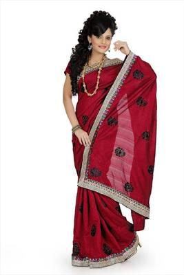 Maroon bhagalpuri silk saree with unstitched blouse (avn646)