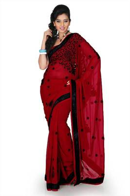 Maroon chiffon saree with unstitched blouse (myr1247)