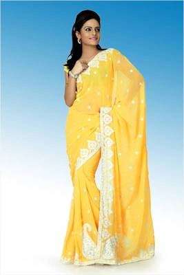 Golden yellow faux georgette saree with unstitched blouse (ant630)