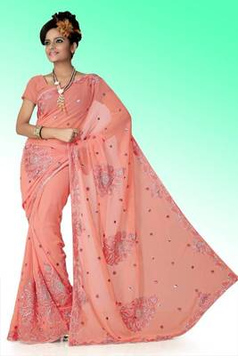 Peach faux georgette saree with unstitched blouse (ant631)