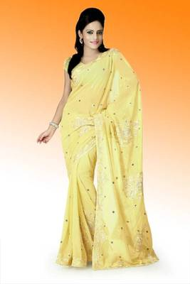 Yellow faux georgette saree with unstitched blouse (ant632)