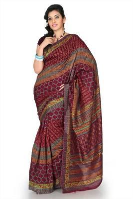 Maroon bhagalpuri silk saree with unstitched blouse (mhk1262)