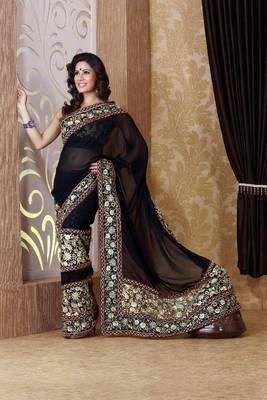 Black faux georgette saree with unstitched blouse (bmc1311)