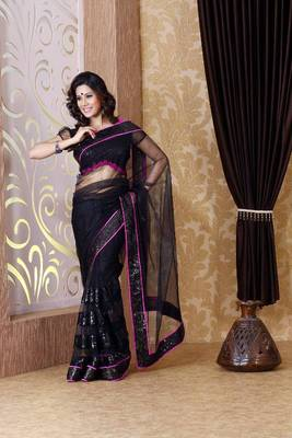 Black net saree with unstitched blouse (bmc1312)
