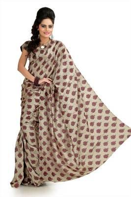 Cream khadi silk saree with unstitched blouse (flk993)