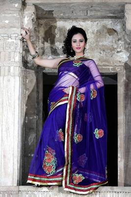 Dark blue net saree with unstitched blouse (bwd916)