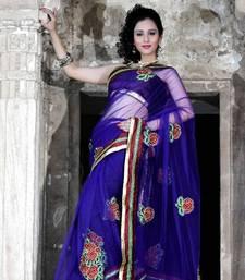 Buy Dark blue net saree with unstitched blouse (bwd916) net-saree online