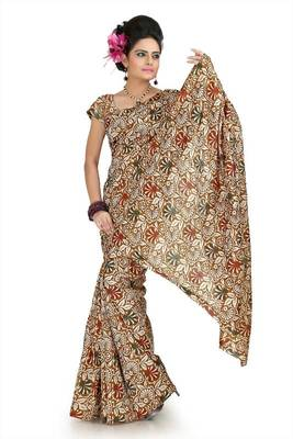 Brown and cream bhagalpuri silk saree with unstitched blouse (flk1018)