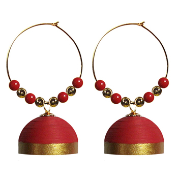 Red hoops quilled jhumkas