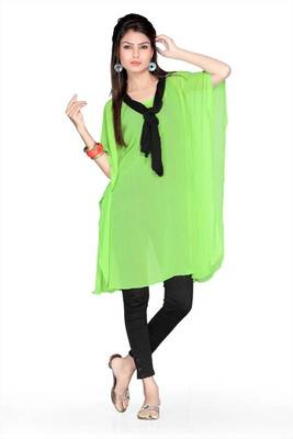 Lime green chiffon readymade printed kaftan (k46)