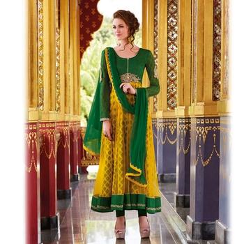 Green and Mustard Anarkali Salwar Kameez