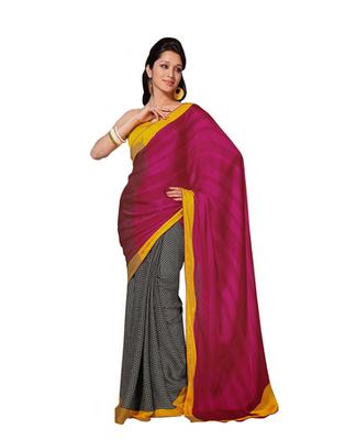 Dealtz Fashion Pink-Black Chiffon  Saree