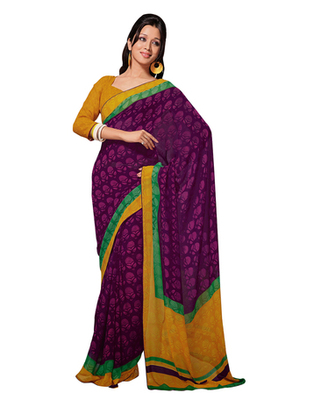 Dealtz Fashion Magenta Georgette   Saree