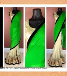 Buy GREEN AND CREM GEORGETTE AND NET DESIGNER SAREE WITH BLOUSE other-actress-saree online