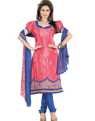 Pink Colored Crepe Jacquard Embroidered Unstitched Salwar Kameez