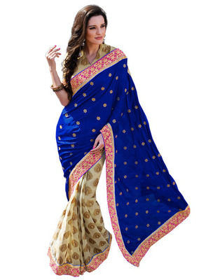 Blue  Colored Satin Embroidered Saree