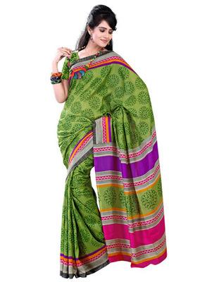 Green Colored Raw Silk Printed Saree