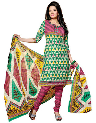 Green & Pink Colored Cotton Unstitched Salwar Kameez