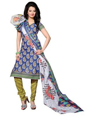 Blue & Olive Green Colored Cotton Unstitched Salwar Kameez