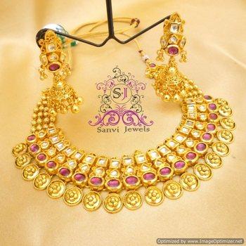 Beautiful Gold Look Kundan Necklace set