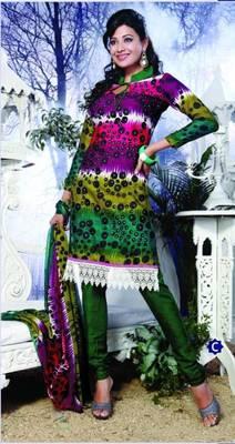 Spun Cotton Lacer Salwar Kameez Churidar Dress Meterial SC1055C