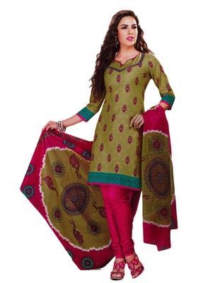 Salwar Studio Mehandi & Pink Cotton Printed unstitched churidar kameez with dupatta MCM-4414