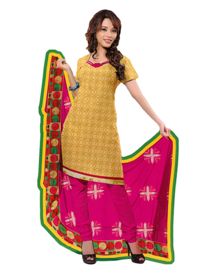 Salwar Studio Beige & Pink Chanderi Printed unstitched churidar kameez with dupatta PK-3003