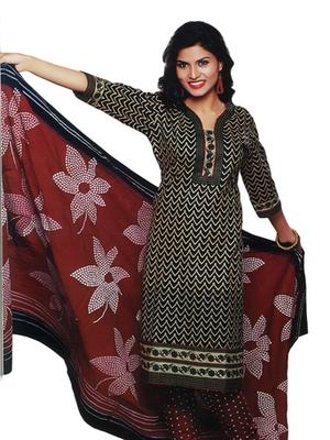 Salwar Studio Brown & Black Cotton Printed unstitched churidar kameez with dupatta SD-592