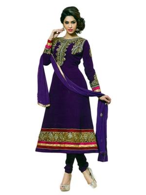 Salwar Studio Voilet semi georgette Anarkali designer semistitched churidar kameez with dupatta  JC-1009