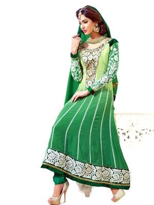 Salwar Studio Green semi georgette Anarkali designer semistitched churidar kameez with dupatta  KY-5001