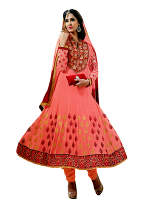 Salwar Studio Peach & Red semi georgette Anarkali designer semistitched churidar kameez with dupatta  KY-5006