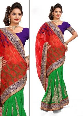 ISHIN Net Brasso & Marble Chiffon Red & Green Saree MR-2125-A