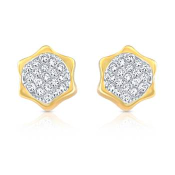 Mahi  Gold Plated  Brilliant Cluster Earrings with  CZ  Stones